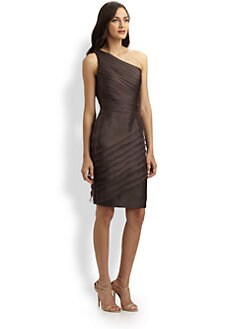 Carmen Marc Valvo - Asymmetrical Organza Dress