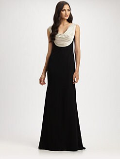 Carmen Marc Valvo - Beaded Cowl Gown
