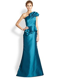 Carmen Marc Valvo - One-Shoulder Peplum Gown