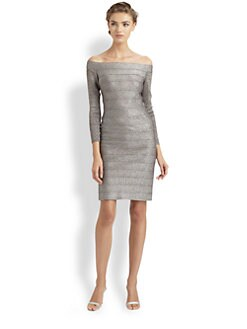 Carmen Marc Valvo - Metallic Off-The-Shoulder Dress