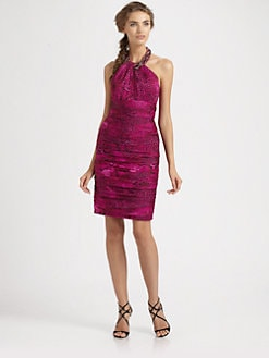 Carmen Marc Valvo - Beaded Halter Dress