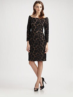 Carmen Marc Valvo - Beaded Lace Dress