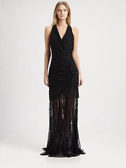 Carmen Marc Valvo - V-Neck Gown