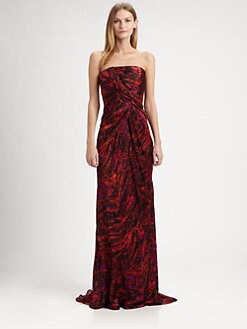 Carmen Marc Valvo - Strapless Silk Satin Gown & Stole