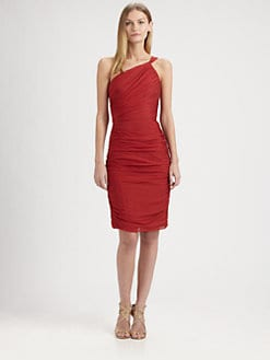 Carmen Marc Valvo - Silk Chiffon One-Shoulder Dress