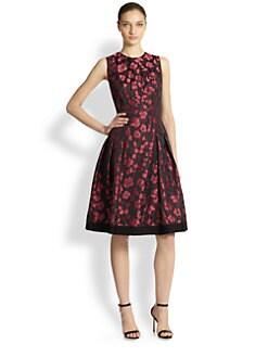 Carmen Marc Valvo - Rose Petal Jacquard Cocktail Dress