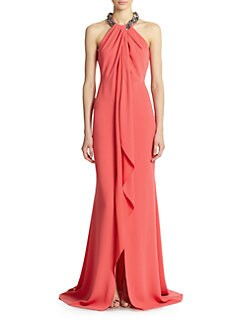 Carmen Marc Valvo - Toga Necklace Gown
