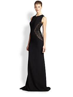 Carmen Marc Valvo - Embroidery-Insert Crepe Gown