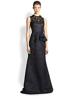 Carmen Marc Valvo - Metallic Brocade & Lace Gown