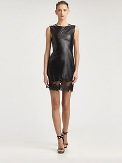 Jason Wu - Lace-Trimmed Leather Dress