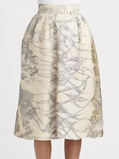 HONOR - Silk Cady Garden Print Skirt