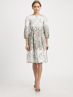 HONOR - Silk Cady Garden Print Dress