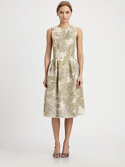 HONOR - Silk Organza Foliage Print Dress
