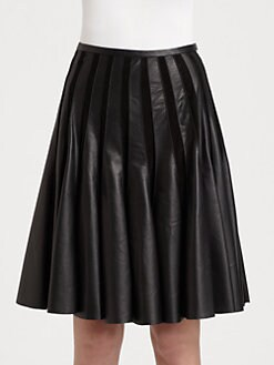 Jason Wu - Leather & Suede Pleated Skirt