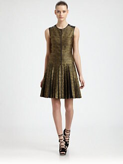 Jason Wu - Metallic Silk-Blend & Leather Pleated Dress
