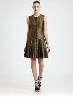 Jason Wu - Metallic Silk-Blend и кожа плисе рокля