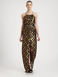 Jason Wu - Metallic Check Stretch Silk Gown