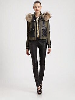Jason Wu - Fox-Trimmed Cotton & Leather Jacket