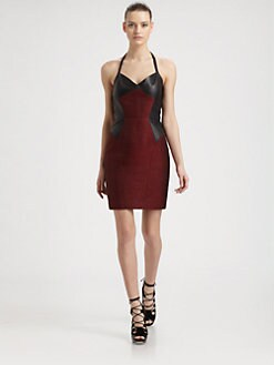 Jason Wu - Leather & Metallic Tweed Halter Dress