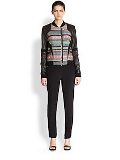 Prabal Gurung - Tweed-Paneled Leather Bomber Jacket