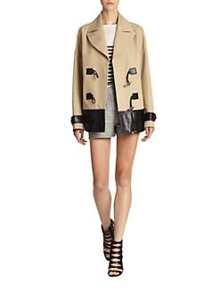 Jason Wu - Leather-Trimmed Cotton Coat
