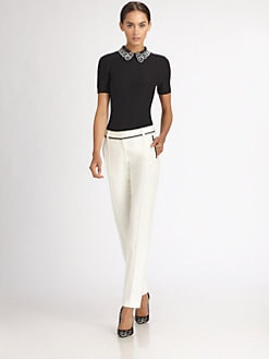 Jason Wu - Silk Beaded Collar Top