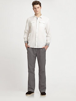 611 Saks Fifth Avenue New York - Garment-Dyed Linen Pants