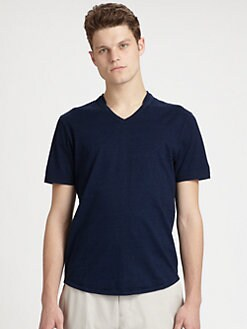 611 Saks Fifth Avenue New York - Cotton V-Neck Tee