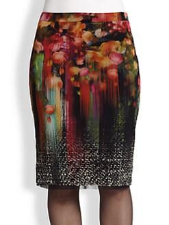 Fuzzi, Sizes 14-24 - Tweed Floral-Print Pencil Skirt