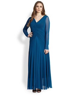 Fuzzi, Sizes 14-24 - Ruched V-Neck Maxi Dress