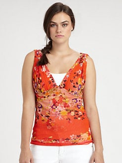 Fuzzi, Salon Z - Printed Ruched Top