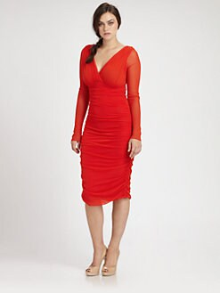 Fuzzi, Salon Z - Ruched V-Neck Dress