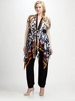Fuzzi, Salon Z - Printed Tie-Waist Vest