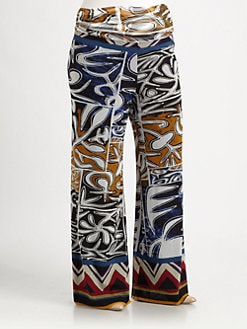 Fuzzi, Salon Z - Tribal-Print Wide-Leg Pants