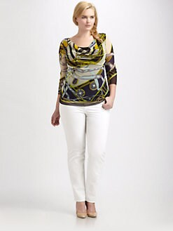 Fuzzi, Salon Z - Printed Cowlneck Top