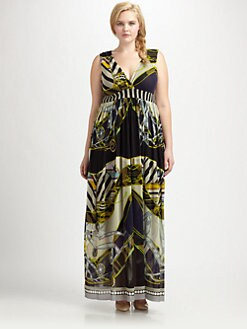 Fuzzi, Salon Z - Printed V-Neck Maxi Dress