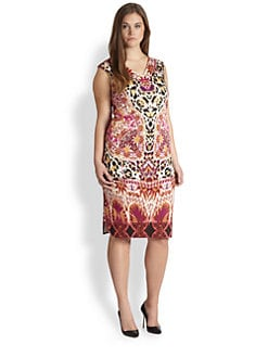 Fuzzi, Salon Z - Ruched-Side Kaleidoscope Dress