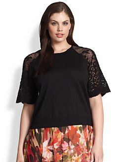 Fuzzi, Salon Z - Lace-Sleeve Crewneck Top
