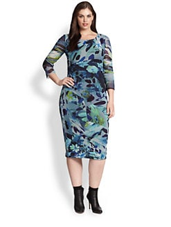 Fuzzi, Salon Z - Printed Boatneck Dress