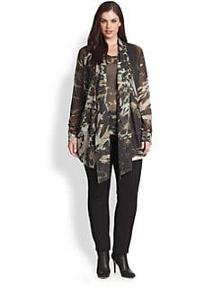 Fuzzi, Salon Z - Draped-Front Printed Cardigan