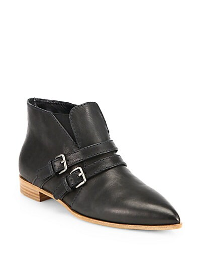 Leather Double-Strap Ankle Boots
