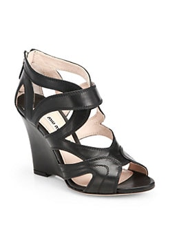 Miu Miu - Nappa Leather Cutout Wedge Sandals