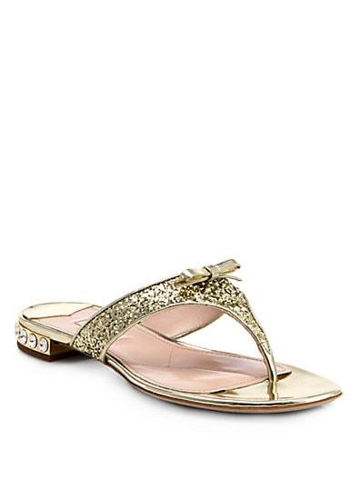 Glitter Crystal-Heel Thong Sandals