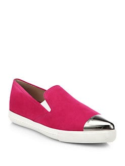 Miu Miu - Suede Toe-Cap Slip-On Sneakers