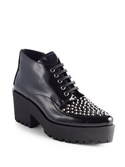 Miu Miu - Studded Patent Leather Ankle Boots