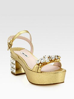 Miu Miu - Jeweled Metallic Leather Platform Sandals