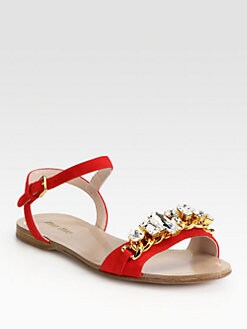 Miu Miu - Jeweled Suede Sandals