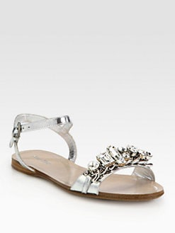 Miu Miu - Jeweled Capretto Lame Metallic Leather Sandals