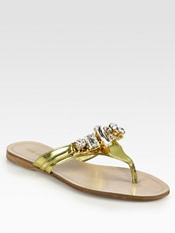 Miu Miu - Jeweled Metallic Leather Thong Sandals