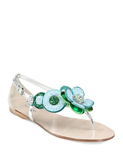Miu Miu - Glitter Jeweled Flower & Metallic Leather Sandals